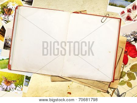 Old book and photos. Objects over old paper