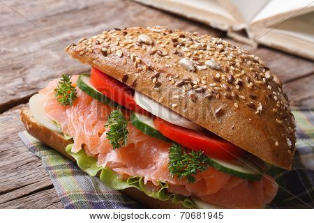 Useful Snack: Sandwich With Salmon And Vegetables