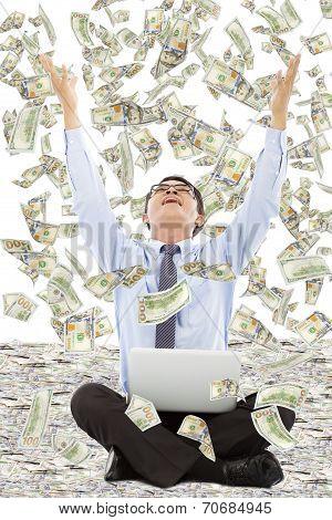 Happy Business Man Raise Hands To Grab Money