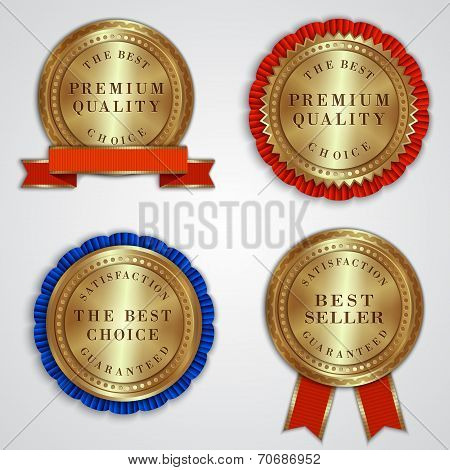 Vector set of round golden badge labels with ribbons and text