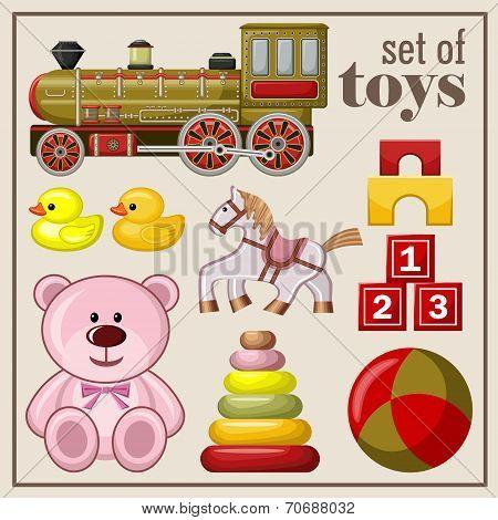 Set of vintage toys.