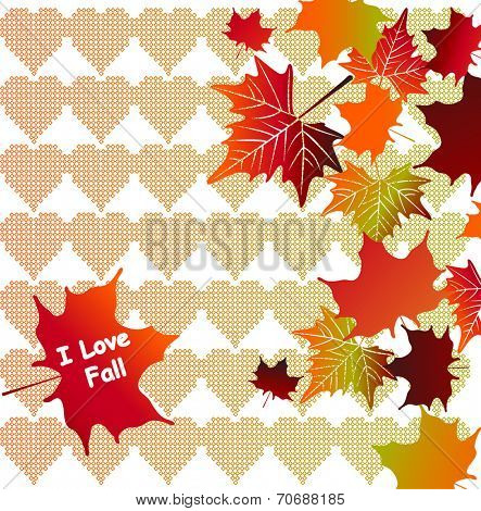 Fall leaves with Nordic hearts - I love fall message