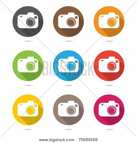Hipster photo or camera icon set  with shadow