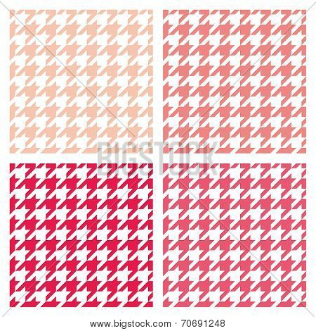 Houndstooth seamless vector pastel pattern set. Traditional Scottish plaid fabric collection