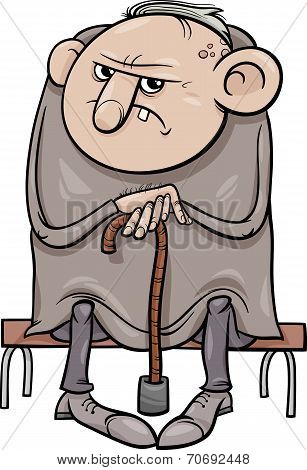 Grumpy Old Man Cartoon Illustration
