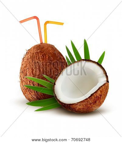 Coconut and a coconut cocktail with a straw. Vector.