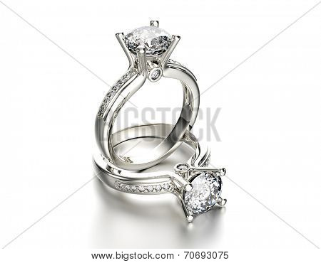 Engagement Ring with Diamond on white. Jewelry background