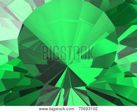 Background of jewelry gemstone. Facet.  Emerald