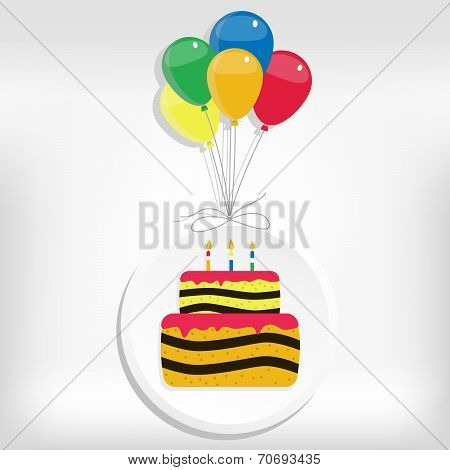 Birthday Card With Cake And Balloon