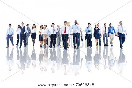 Diverse Business People Working and Walking