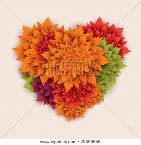 paper autumn leaves heart background - vector