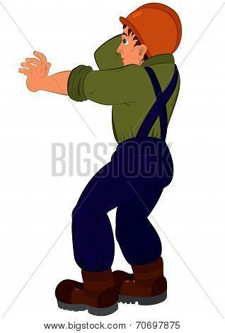 Cartoon Man In Constructor Uniform And Hard Hat Pushing