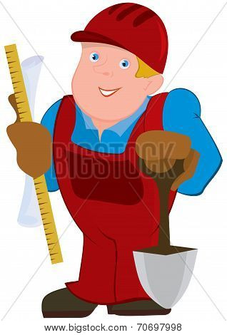 Cartoon Man In Red Constrictor Uniform And With Spade