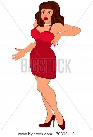 Cartoon Sexy Brunet Woman In Mini Red Dress