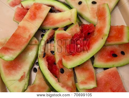 Watermelon rinds on a tray