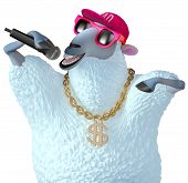 stock photo of rapper  - 3 d cartoon cute rapper blue sheep - JPG
