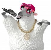 foto of rapper  - 3 d cartoon cute rapper white sheep - JPG