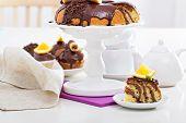 foto of pound cake  - Chocolate orange marble cake slice with fresh orange - JPG