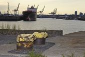image of bollard  - Old bollards at the Ellerholz Port in Hamburg  - JPG