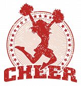 image of pom poms  - Illustration of a cheer design in a vintage style with a cheerleader silhouette - JPG