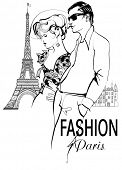 stock photo of stroll  - Fashionable couple strolling and shopping in Paris  - JPG