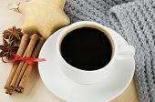 pic of christmas spices  - Cup of coffee with scarf - JPG