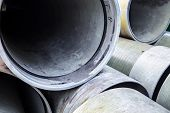 picture of orifice  - Close up of the new industrial pipes in the stack - JPG