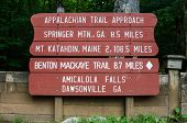 picture of appalachian  - A painted sign gives the distance to Maine from Georgia on the Appalachian Trail - JPG