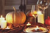 stock photo of thanksgiving  - Autumn place setting - JPG