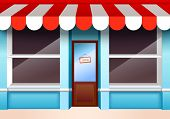 pic of local shop  - Store shop front window with empty shelves vector illustration - JPG