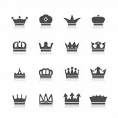 stock photo of significant  - Decorative prince princess king type crowns tattoo authority and supremacy symbols collection black abstract isolated vector illustration - JPG