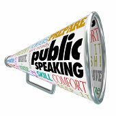 image of public speaking  - Public Speaking words on a 3d bullhorn or megaphone offering advice - JPG