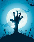 stock photo of zombie  - Halloween background with zombie hands on full moon - JPG