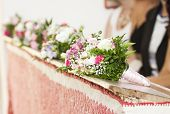 picture of church interior  - Beautiful flowers wedding decoration in a church - JPG