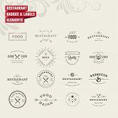 image of food label  - Set of vintage style elements for labels and badges for restaurants - JPG