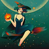 pic of fireflies  - Cartoon illustration with witch on a broomstick and pumpkin for  Halloween - JPG