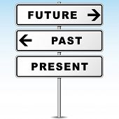 picture of past future  - illustration of future and past direction signpost - JPG