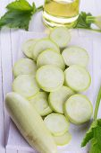 stock photo of marrow  - Fresh ripe marrow on wooden background - JPG