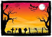 picture of spooky  - vector illustration of a spooky halloween background - JPG