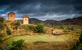 picture of mud-hut  - Rural landscape in central plateau in Madagascar - JPG