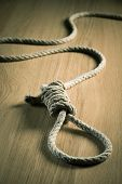 pic of hangmans noose  - Noose lying on hardwood floor suicide and punishment concept - JPG
