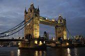 Tower Bridge, London, England, Uk, Europe, Illuminated At Dusk poster