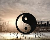 stock photo of yin  - Conceptual image with yin yang sign and silhouettes of businesspeople around - JPG