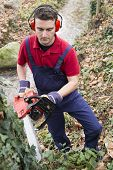 pic of man chainsaw  - hard working with chainsaw in a forest - JPG