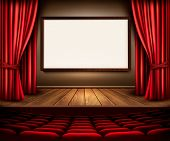 pic of drama  - A theater stage with a red curtain - JPG