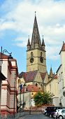 stock photo of sibiu  - Sibiu city Romania Lutheran Cathedral architecture detail - JPG