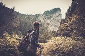stock photo of cloud forest  - Man with hiking equipment walking in mouton forest - JPG