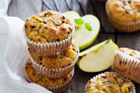 stock photo of chocolate muffin  - Gluten free almond and oat muffins with apple and chocolate chips - JPG