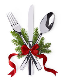 picture of dinner invitation  - Christmas and new year silverware for celebration as invitation design background - JPG