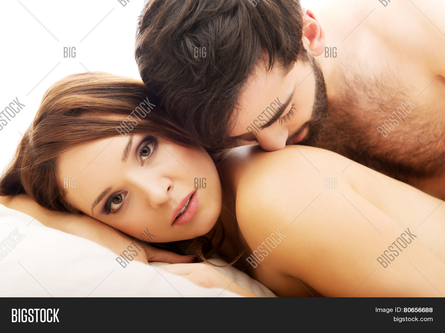 Young love couple in bed  romantic scene in bedroom. Young Love Couple Bed  Romantic Image   Photo   Bigstock